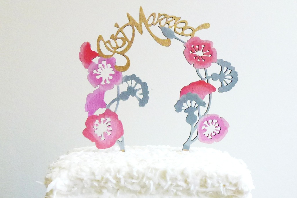 Hand painted wedding cake topper Just Married with flowers