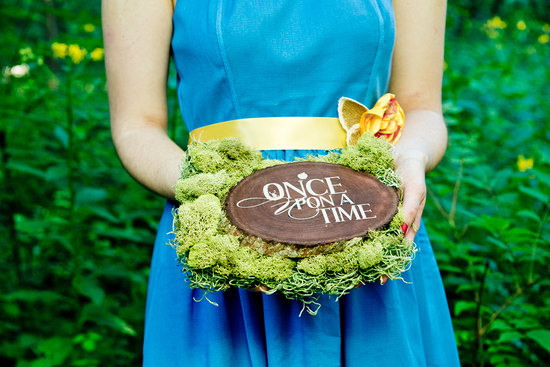 Once Upon a Time wood and moss wedding ring pillow