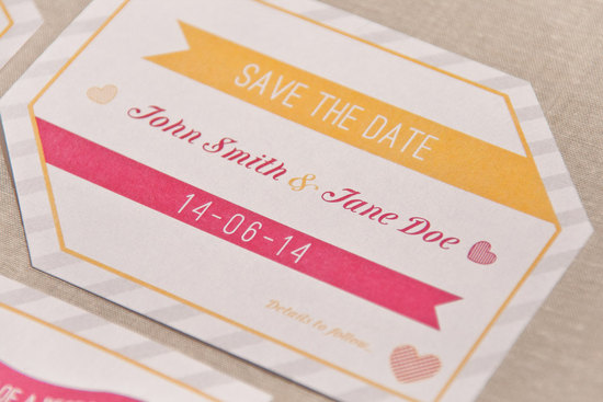 Unique wedding save the date in marigold pink and white