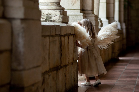 Feather angel wings for the flower girl