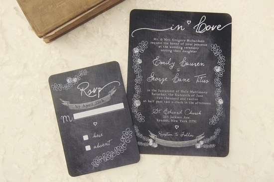 Rounded chalkboard wedding invitations