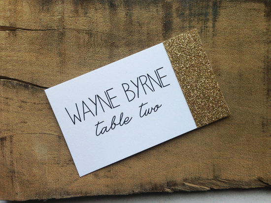 Gold glitter dipped wedding escort cards
