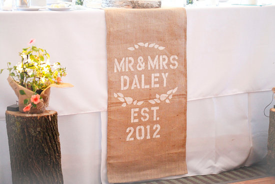 custom burlap wedding table runner