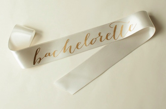 Elegant ivory and gold bachelorette ribbon