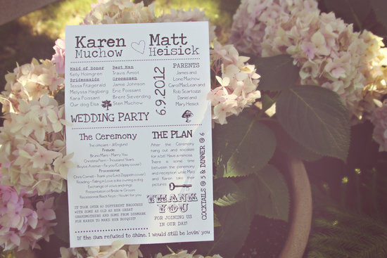 Printable custom wedding program rustic vintage