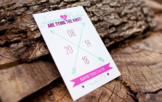 Bright native wedding save the date mint white fuschia