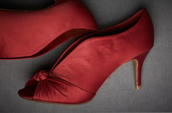 BHLDN wedding shoes- scarlett red knotted peep toes