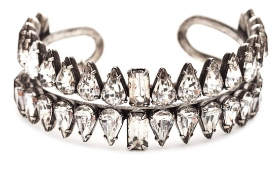 Art deco edge crystal wedding cuff bracelet
