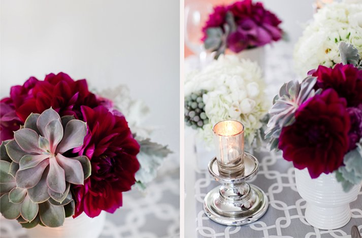 Dark Romantic Wedding Flowers Deep Purple Flowers And