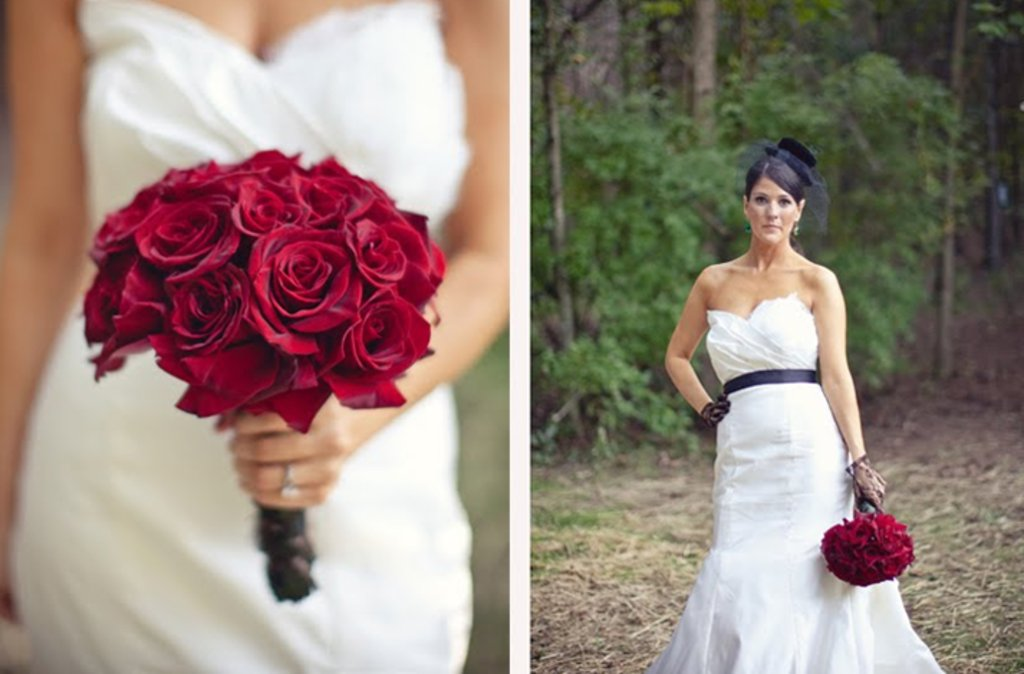 Vintage Wedding Style Red Rose Bridal Bouquet Antique Transportation