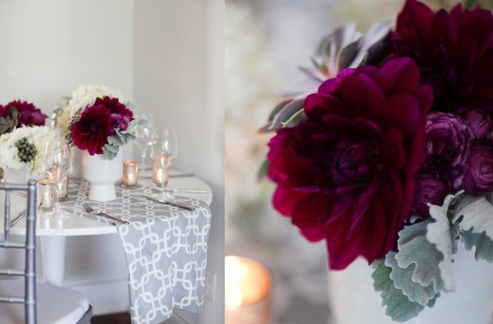 Dark + Romantic wedding flowers- deep purple flowers and succulent centerpieces