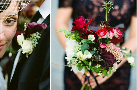 Dark + Romantic wedding flowers- crimson red bridal bouquet
