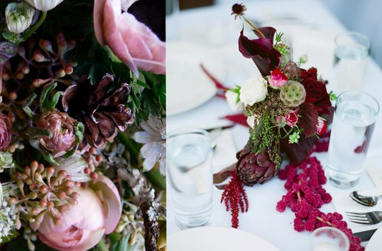 Dark + Romantic wedding flowers- luxe wedding reception centerpieces