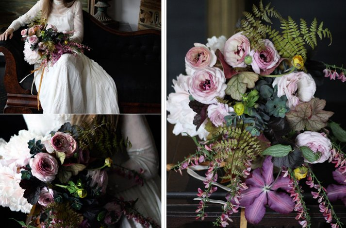 Dark + Romantic wedding flowers- deep dusty rose bridal bouquet with a vintage flair, 2