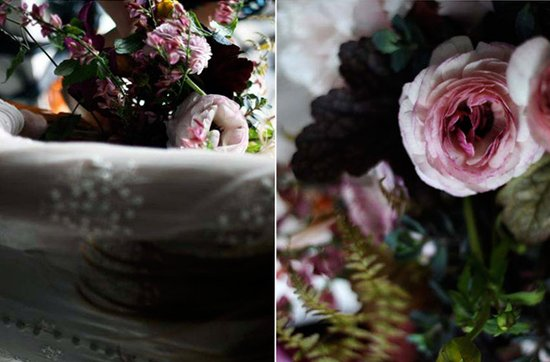 Dark + Romantic wedding flowers- deep dusty rose bridal bouquet with a vintage flair