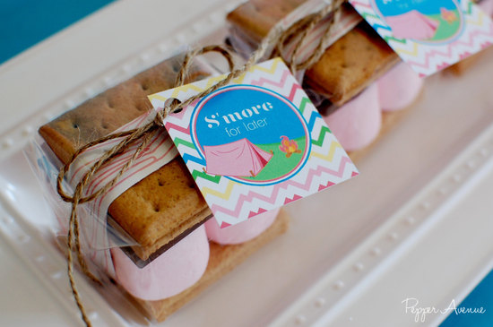 Smores wedding favors for glamping reception