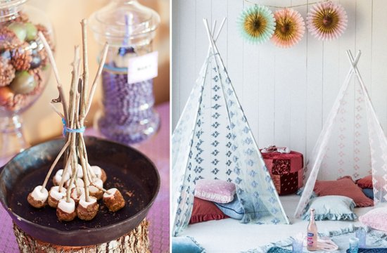 Romantic glamping wedding reception decor and sweets