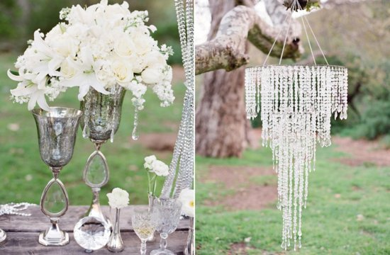 Elegant glamping wedding decor inspiration ivory flowers with crystals
