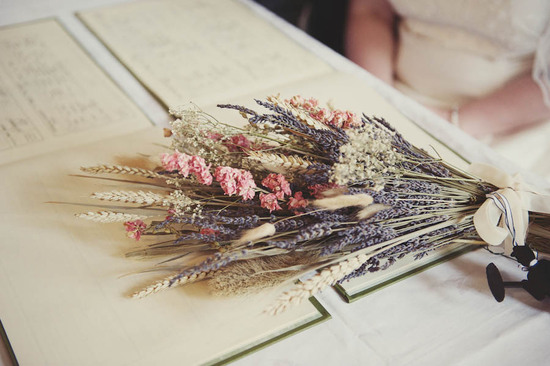 photo of Glamping vintage wedding outdoors rustic dried bridal bouquet
