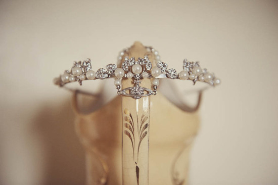 Glamping vintage wedding outdoors pearl and crystal bridal crown