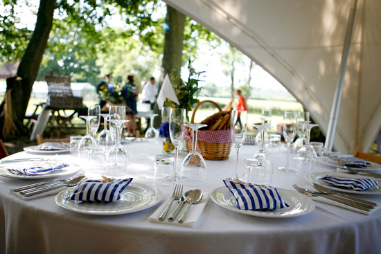 Simple wedding reception tablescape for glamping couples