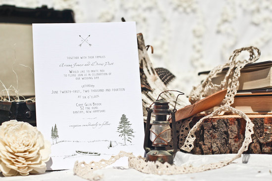 Rustic glamping simple wedding invitation