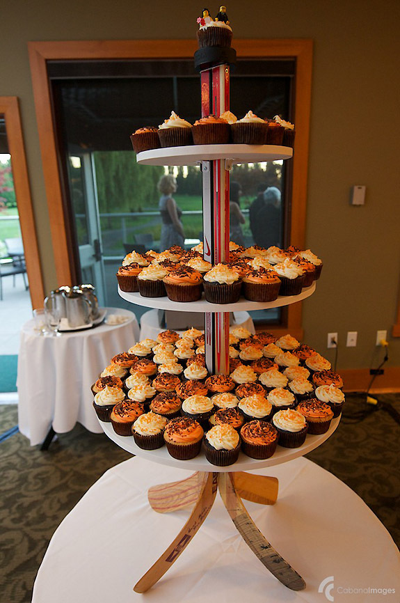 Hockey-themed offbeat wedding at an ice rink- wedding cupcakes display