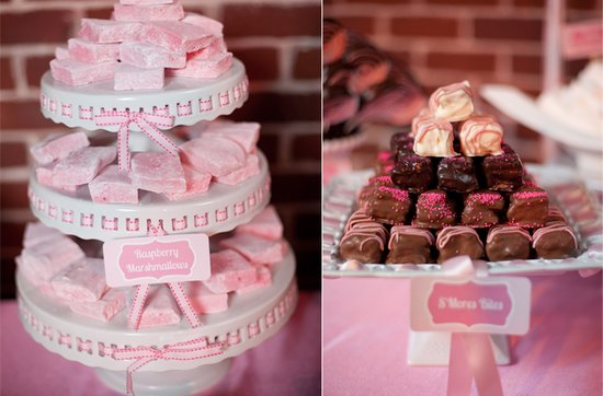 Light pink and chocolate brown wedding reception sweets table