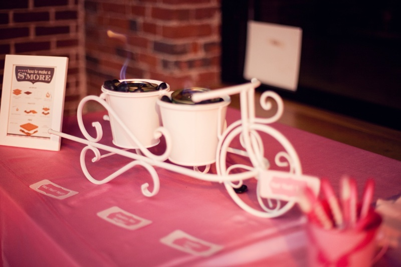 Hot pink and chocolate brown wedding reception s'mores bar