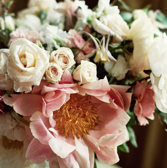 Romantic rose and peony wedding flowers in ivory and blush