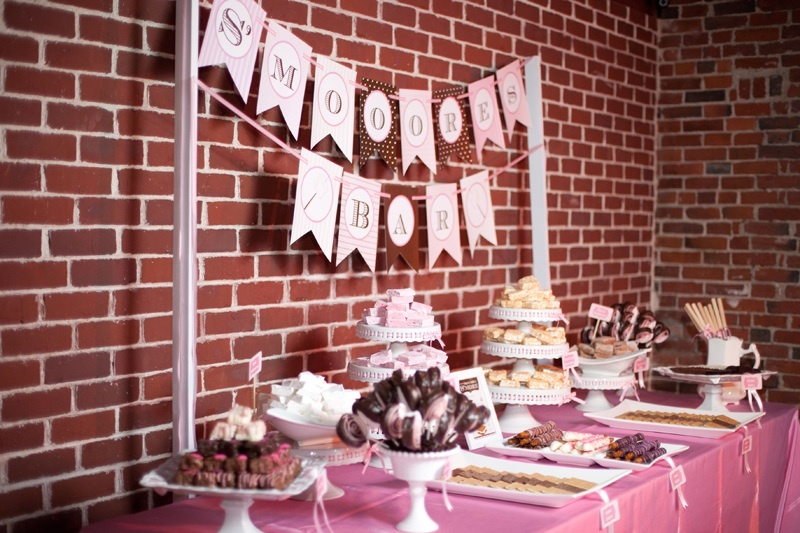 Wedding reception dessert table- S'mores and Dessert Bar