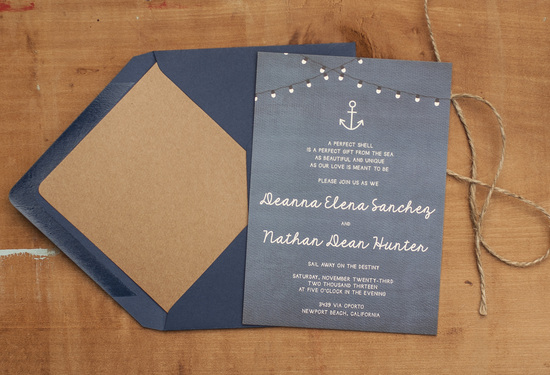 Navy Themed Wedding Invitations