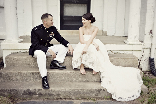 Real weddings with military grooms in uniform- lace wedding dress