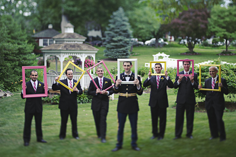 Real weddings with military grooms in uniform- groom poses with groomsmen