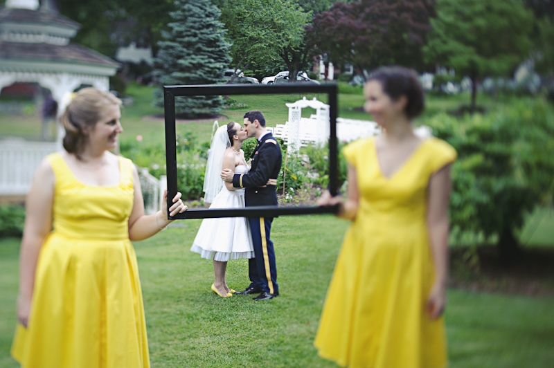 Real weddings with military grooms in uniform tea length for Free wedding dresses for military brides