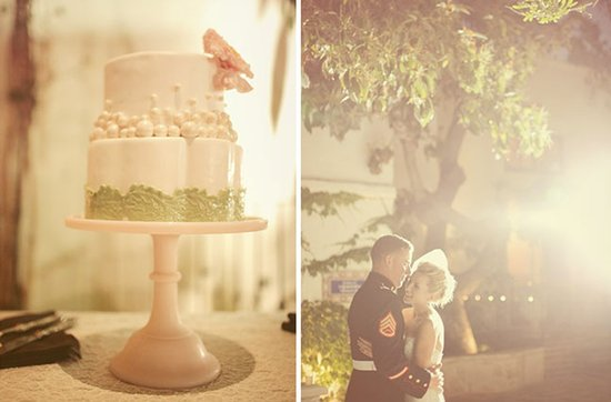 Real weddings with military grooms in uniform- simple wedding cake, first dance