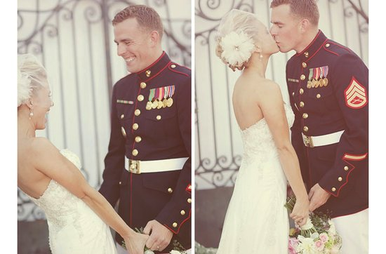 Real weddings with military grooms in uniform- vintage chic bride