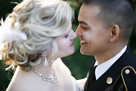 Real weddings with military grooms in uniform- bride and groom kiss