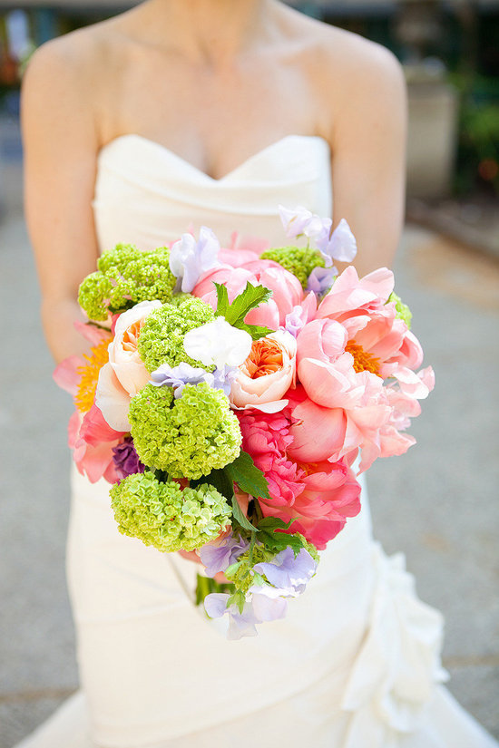 bright whimsical wedding bouquet with peonies and garden roses