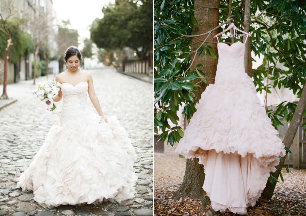 Classic bride wears allure couture wedding dress poses with groom