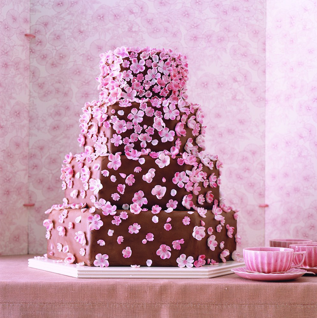 Chocolate-wedding-cake-adorned-with-pink-ediible-cherry-blossoms.full