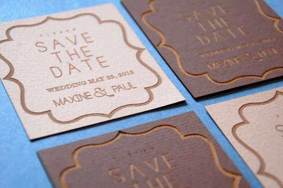 laser engraved wedding save the date