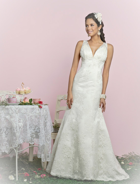 Charlotte Balbier wedding dresses, 2012 bridal gown- lace v-neck