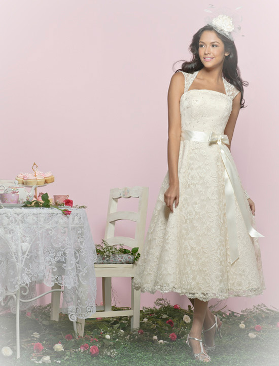 Charlotte Balbier wedding dresses, 2012 bridal gown- lace tea-length reception dress