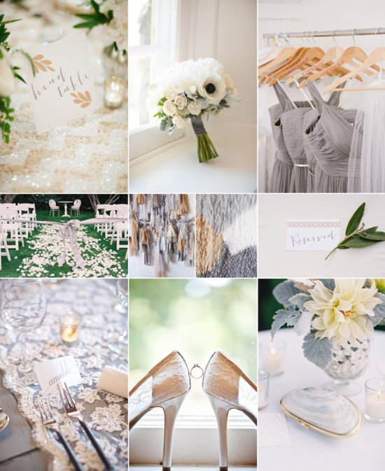 Gorgeous Gray, Nude and White Wedding Color Inspiration