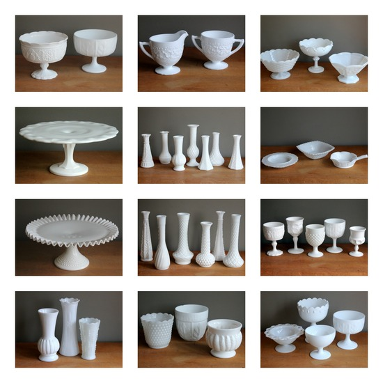 Momentarily Yours Events Kansas City Vintage Rentals Milk Glass