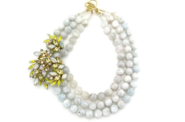 Statement wedding necklaces- moonstone witha vintage brooch