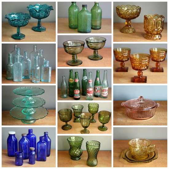 Momentarily Yours Events VIntage Rentals Kansas City Colored Glassware Collage