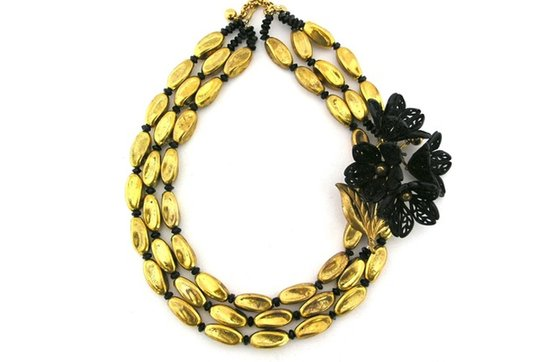 Statement wedding necklaces- black and gold