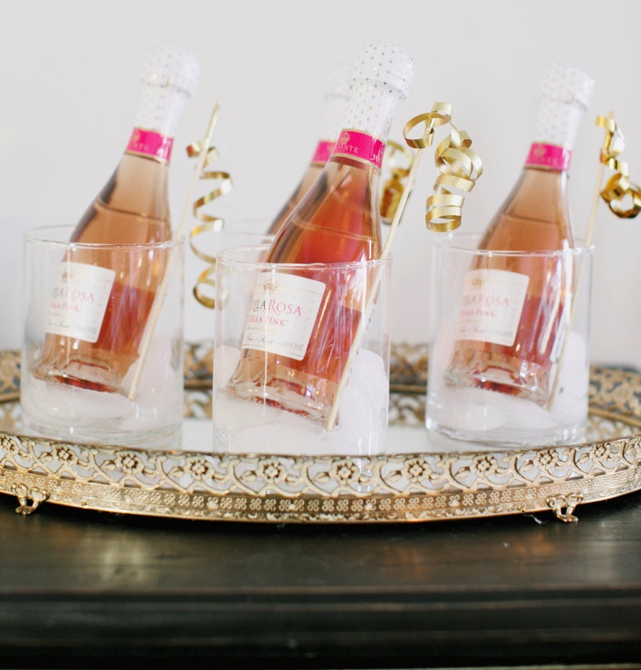 Mini rose champagne wedding guest favors